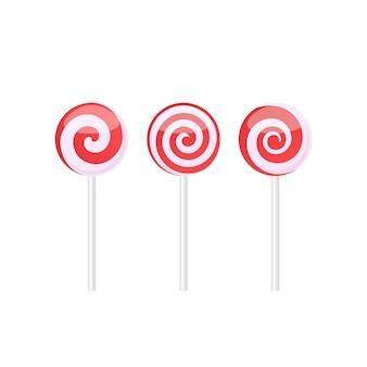 Set van rode en witte lollies snoepjes met verschillende spiraalpatronen. vectorillustratie geïsoleerd op een witte achtergrond