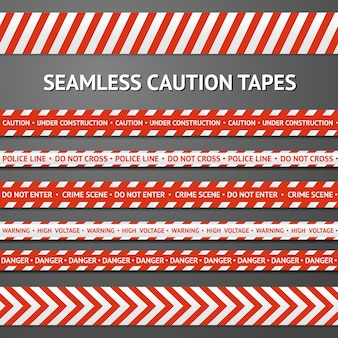 Set van rode en witte naadloze voorzichtigheidsbanden met verschillende tekens