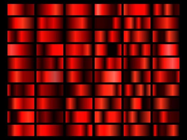 Set van rode folie textuur achtergrond. metalen verloop sjabloon. vector illustratie.