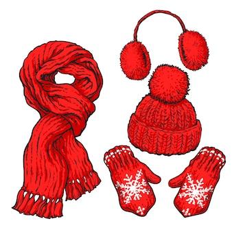 Set van rode geknoopte sjaal, muts, oorwarmers en wanten