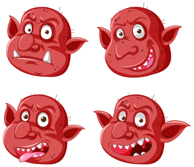 Set van rode goblin of trol gezicht in verschillende uitdrukkingen in cartoon stijl geïsoleerd