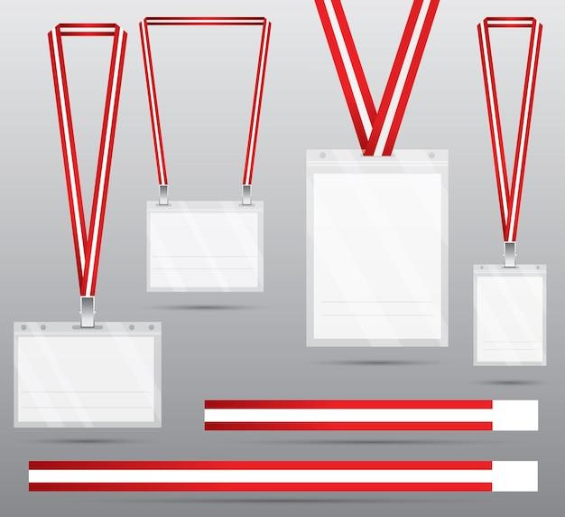 Set van rode lanyard en badge. identificatiekaart met lanyard voor toegang tot evenementen. beveiligings- en besturingselement.
