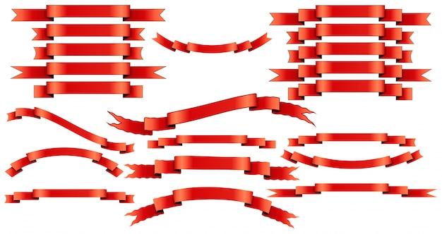 Set van rode linten op witte achtergrond.