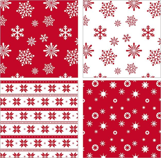 Set van rode naadloze sneeuwvlok patroon