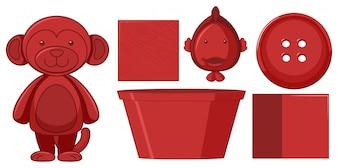 Set van rode objecten