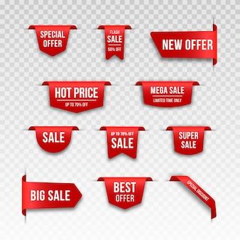 Set van rode prijskaartjes. labelontwerp voor zwarte vrijdag. realistisch verkoopetiket.