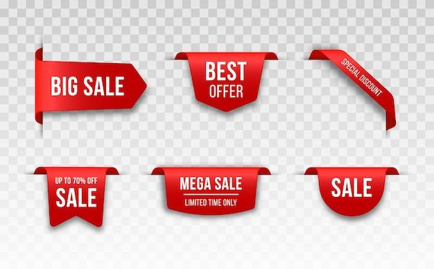 Set van rode prijskaartjes