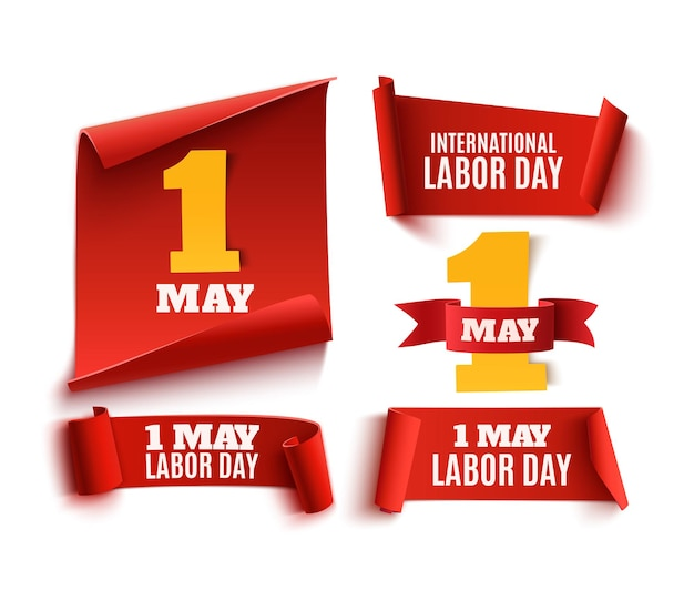 Set van rode realistische 1 mei papieren linten van de dag van de arbeid