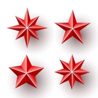 Set van rode sterren.