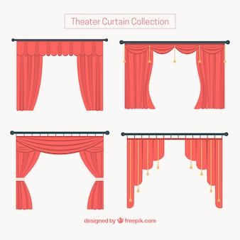 Set van rode theatergordijnen