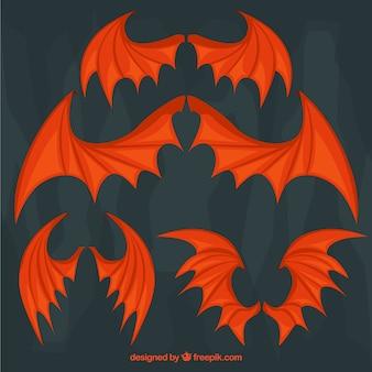 Set van rode vleermuizen