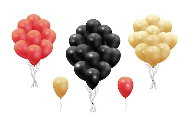 Set van rode, zwarte en gouden realistische 3d-ballonnen