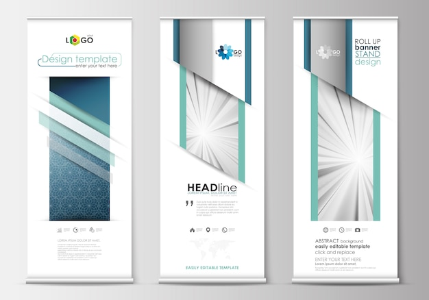 Set van roll-up banner stands, platte ontwerpsjablonen