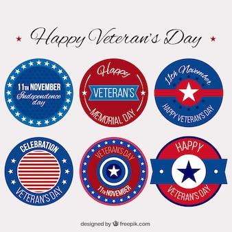 Set van ronde badges voor veteranen dag