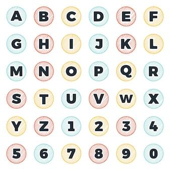 Set van ronde krabbel letters en cijfers vector illustraties