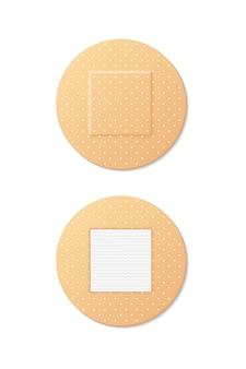 Set van ronde medische verbandbeelden. zelfklevende pleisters met zonder wikkel aan de zelfklevende kant. eerste hulp bij huidbeschadiging. defferente pleisters geïsoleerd op wit.