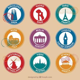 Set van ronde postzegels met negen verschillende steden