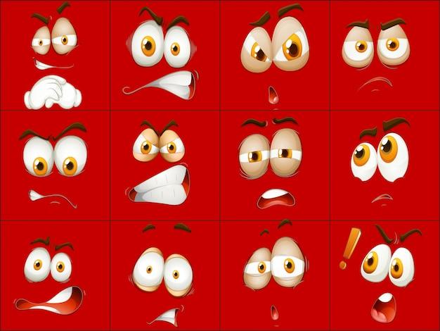Set van rood gezicht expressie