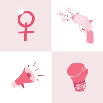 Set van roze feministische badge vectoren