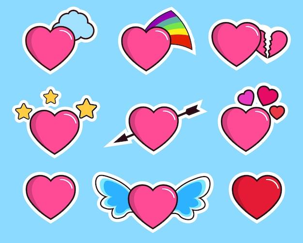 Set van roze harten op blauw