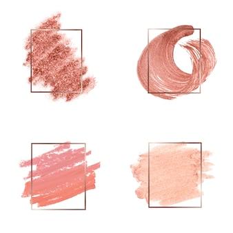 Set van roze penseelstreek badge vectoren