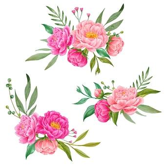 Set van roze pioen aquarel boeketten