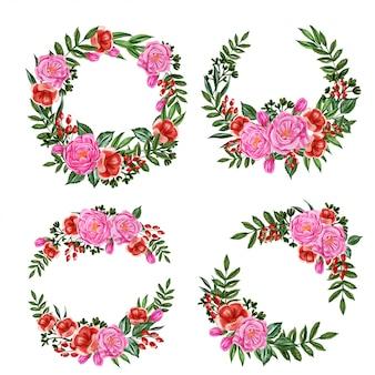 Set van roze pioenrozen en rode bloemen krans