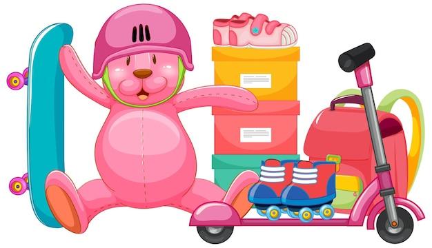Set van roze speelgoed in cartoon stijl