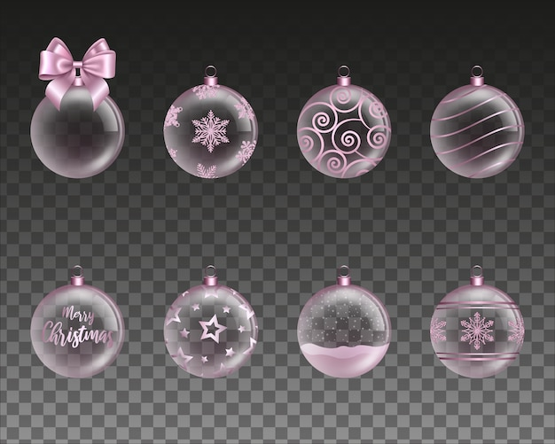 Set van roze transparante kerstballen