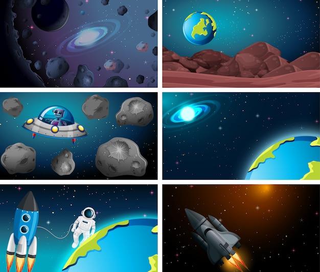 Set van ruimte achtergrond
