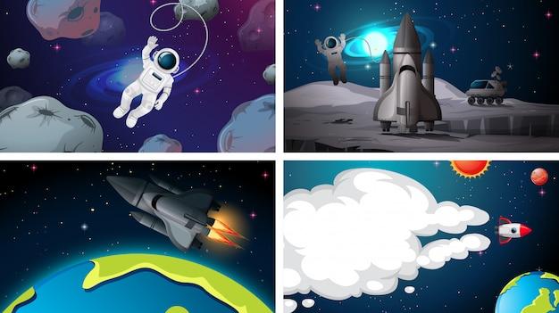 Set van ruimte achtergronden