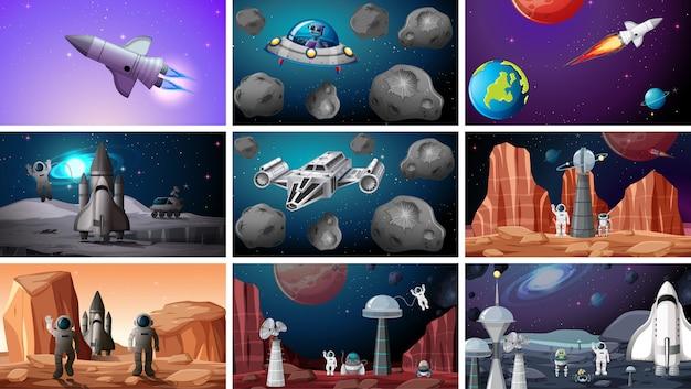 Set van ruimte achtergronden Gratis Vector