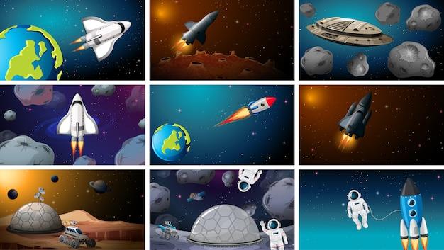 Set van ruimte-exploratie scènes achtergrond