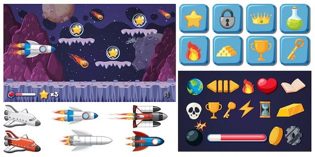 Set van ruimte spel