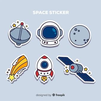 Set van ruimte stickers in de hand getekend
