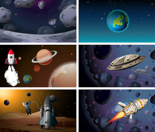 Set van ruimteachtergrond