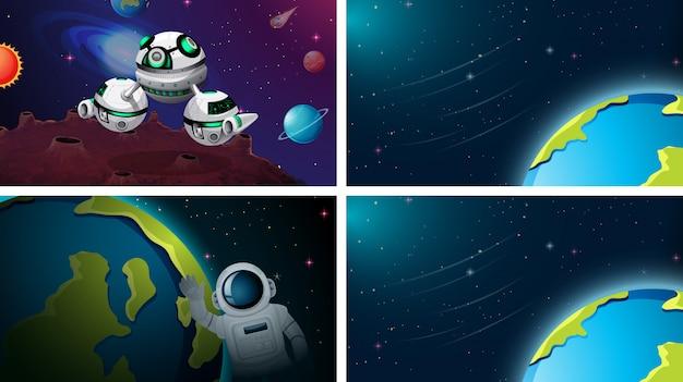 Set van ruimtescène of achtergrond