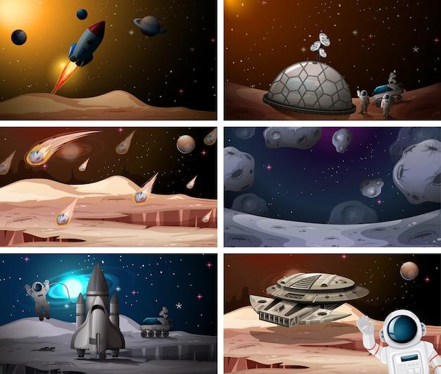 Set van ruimtescènes Gratis Vector