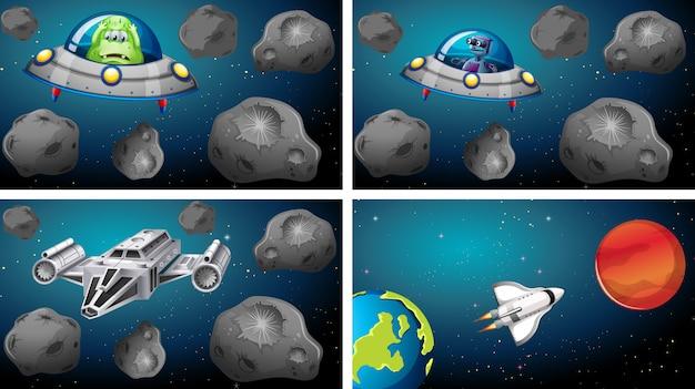 Set van ruimteschepen in scène
