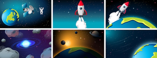 Set van ruimteschip en aarde scènes achtergrond instellen