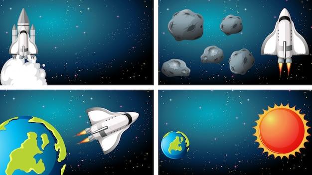 Set van ruimteschip scènes achtergrond
