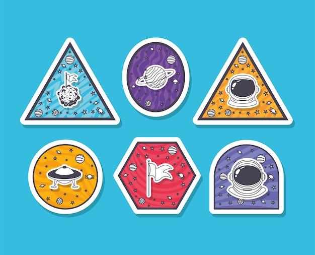 Set van ruimtestickers op lichtblauwe achtergrond