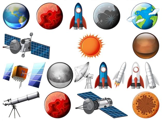 Set van ruimtevoorwerp