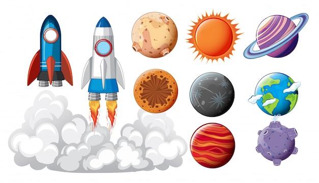 Set van ruimtevoorwerpen concept