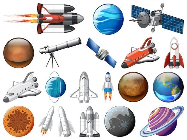 Set van ruimtevoorwerpen
