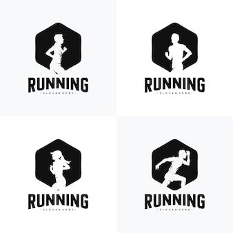 Set van run-logo-ontwerp vector logo-ontwerp