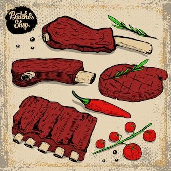 Set van rundvleesribben. gegrilde steak met cherrytomaatjes, chili peper, rozemarijn op grunge achtergrond. elementen voor restaurantmenu, poster. illustratie