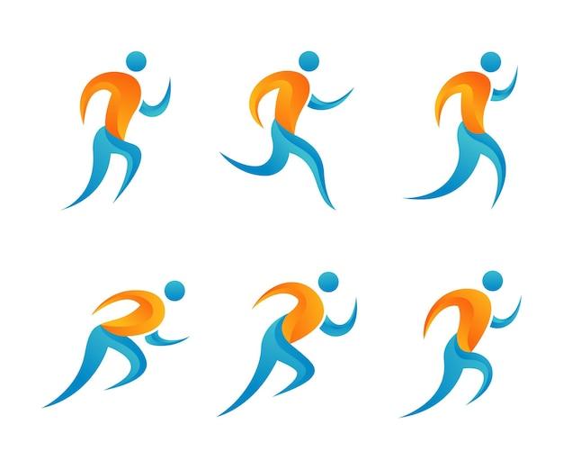Set van running club logo ontwerpsjabloon
