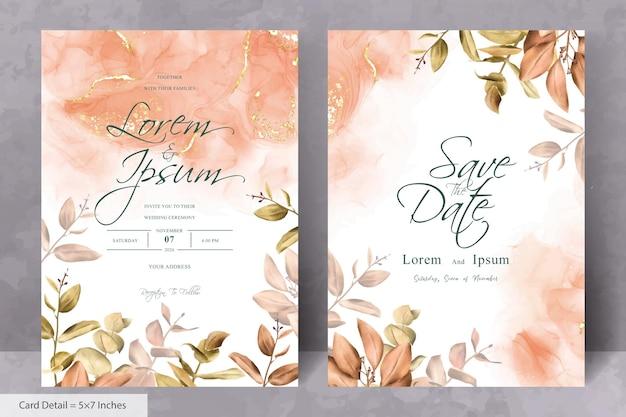 Set van rustieke boheemse herfst herfst bruiloft uitnodiging ontwerp frame