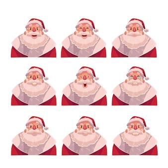 Set van santa claus avatars met verschillende emoties
